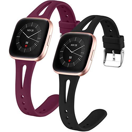 Dirrelo 2 Pack Strap Compatible with Fitbit Versa/Fitbit Versa 2/Fitbit Versa Lite Cinturini, Sottile Stretto Traspirante Silicone Regolabile per Fitbit Versa SE, Donna, Nero+Vino S