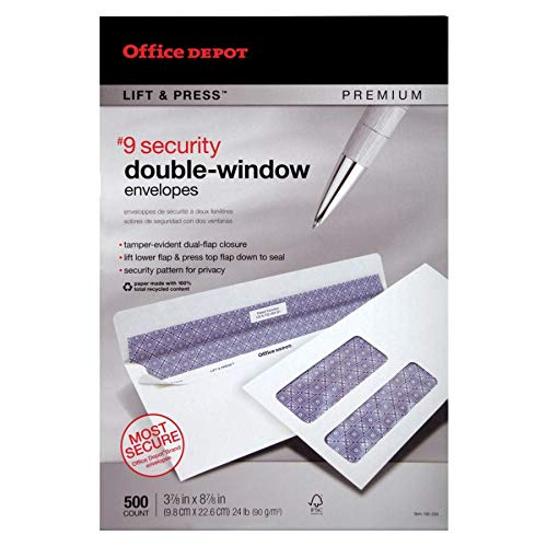Office Depot 100% Recycled Lift Press(TM) Double-Window Envelopes, 9 (3 7/8in. x 8 7/8in.), White, Pack of 500, 76169 Photo #3