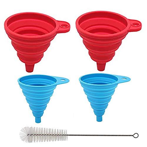 4 embudos con cepillos de nylon embudos de silicona plegable embudos de cocina en 2 tamaños fáciles de limpiar ideales para convertir especias polvo líquido frijoles mermeladas conservas