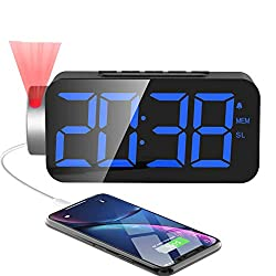 """M-better Projection Alarm Clock,10 FM Radio, Digital Alarm Clock with USB Phone Charger 7"""" Super Large Digital LED Display & Dimmer,180°Rotable Clearly Projection Clock for Bedrooms Ceiling(12/24H)"""