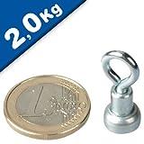 10 x Ösenmagnet Magnet mit Öse Ø 10mm - Neodym, Zink - Haftkraft 2 kg - starker Supermagnet mit extremer Haftkraft für Kühlschrank, Magnet Glasboards, Magnettafel, Pinnwand, Whiteboard