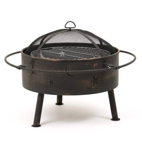 TRUESHOPPING Astral Garden/Decking Firepit with Cooking Grill, and Moon and Stars Design Detailing