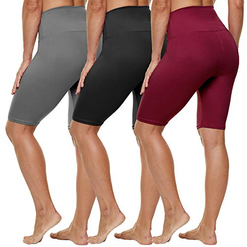 HLTPRO High Waist Biker Shorts for Women - 8' Tummy Control Stretchy Shorts for Running, Workout, Cycling - Reg & Plus Size