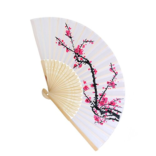 Danyoun Folding Hand Held Fan Ladies Womens Silk Cherry Blossom Bamboo Folding Fans Handheld Folded Fan Red Plum Blossom Design with Bamboo Frame for Church Wedding Gift, Party Favors, DIY Decoration