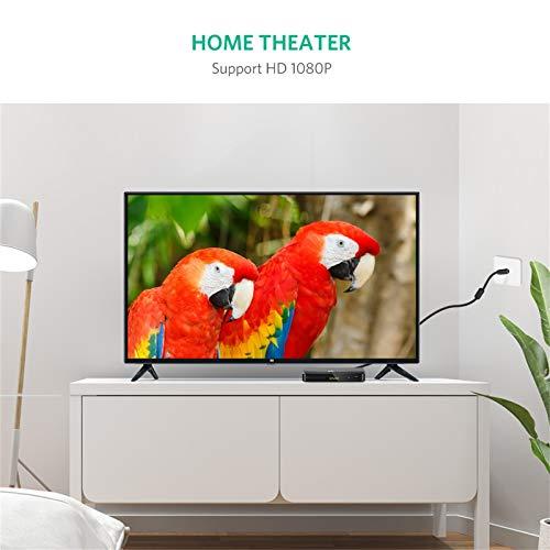 UGREEN Câble Antenne TV Mâle à Mâle Câble Coaxial TV Full HD avec Adaptateur Femelle à Femelle Compatible avec Télé Ampli Freebox Décodeur TNT DVB T2 Répartiteur 75 Ohm (1M)