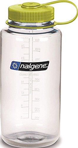 Nalgene Tritan Botella de agua de boca estrecha sin BPA, color Gris con tapa blanca., tamaño 32 Ounces