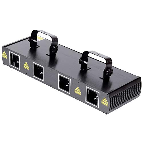 UKing 4 Holes DJ Disco Lichteffekt, RGPW LED Bühnenlicht mit 100 Mustern und 300 Effekt Projektor,Stroboskop Licht mit DMX 7CH Steuerung/Sound Aktiviert