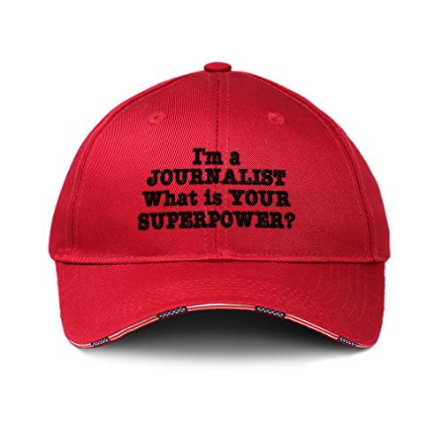 American Flag Hat Journalist Superpower Embroidery Cotton Patriotic USA Baseball Cap Strap Closure Red One Size