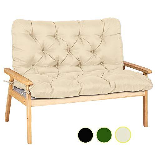 Ommda Zitkussen van hout, keuken, katoen, zitkussen voor tuinbank, waterafstotend, kussen, lang gevoerd met spalier 180x100x10cm Beige