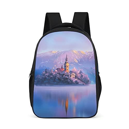 Hinfunees Mochila de Eslovenia japonesa, agua, montañas, obras de arte, lago, bolso de moda, bolso de hombro para adolescentes, mochilas de día y tiempo libre, gris brillante., talla única