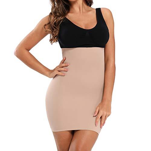 Joyshaper Unterröcke Miederrock Damen Unterrock Unterkleid Miederkleid Halbunterrock Hohe Taille Nahtlose Unterwäsche für Frauen (Beige, X-Large)