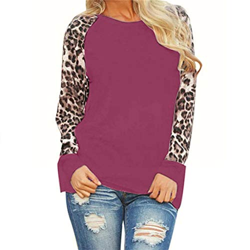Auifor dames luipaard blouse lange mouwen mode dames t-shirt top