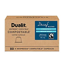 Nespresso Compatible Decaf Compostable Coffee Capsules by Dualit | 80 Pack – 8 X 10 Pk – 80 Servings of Premium Eco…