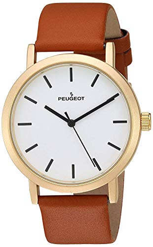 Peugeot Men's Casual Minimalist Wrist Watch, Analog Classic Everyday Design with Leather Band Strap