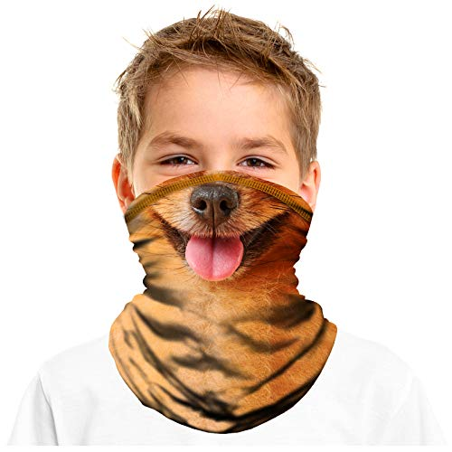 FMDAN Kids Neck Gaiter Face Mask with Adjustable Strap Drawstring Breathable Bandana Gaiter Mask for Boys Girls Dog Face Mask Scarf Sun Dust Protection Outdoor Sports Running (Multicolored 0103)