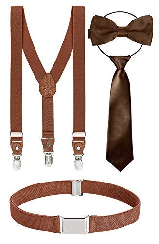 BomGuard 4er kinder-hosenträger braun braune schleife 1-5 Jahre 12 jungs 1-8 Jahre kinder-gürtel kinder-fliege kinderkrawatte krawatte