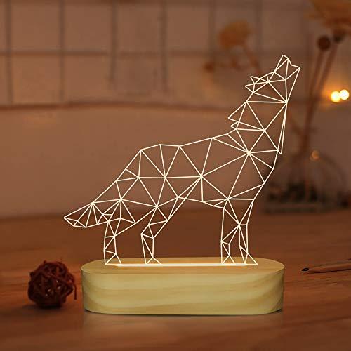 Regalos de lobos, ilusión óptica 3D Lámpara de lobo Animal Luz de noche LED para niños Niños Hombres Decoración de dormitorio, Alimentación USB Lámparas de mesa de color blanco cálido