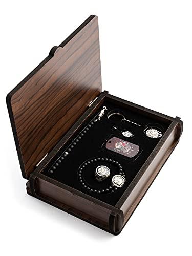 Gök-Türk Handgemachte Schatulle Schmuck Set Osmanische Tugra Abdulhamid: Set aus Halskette, Ring, Armband, Gebetskette - Tesbih, Schlüsselanhänger