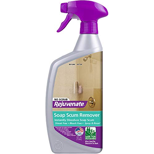 Rejuvenate Scrub Free Soap Scum Remover Shower Glass Door Cleaner Works on Ceramic Tile, Chrome, Plastic and More 24oz