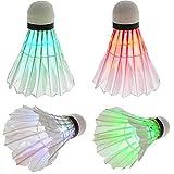 Led bádminton Volante Conjunto Dark Night Glow los chirridos de iluminación para Interior-Exterior Deportes Actividades 4pcs