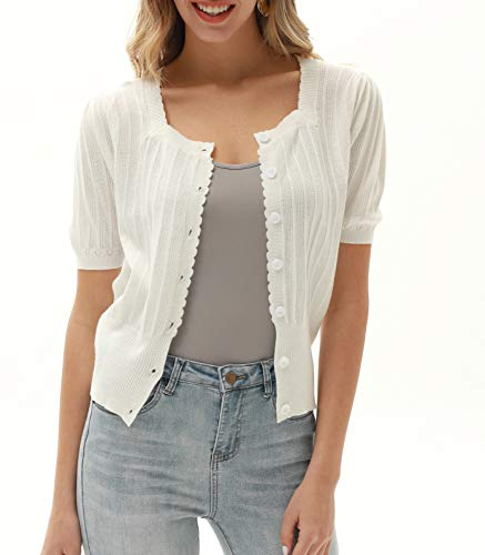 Women Short Sleeve Cropped Cardigan Plus Size Button Bolero Sweater White XXL