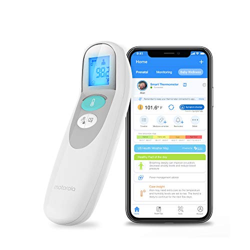 Motorola MBP75SN Care+ Non-Contact Smart Forehead & Liquid Baby Thermometer - Digital Handheld Clinical Device for Kids & Adults - Touchless Quick & Accurate Temperature Reader - Large LCD Display