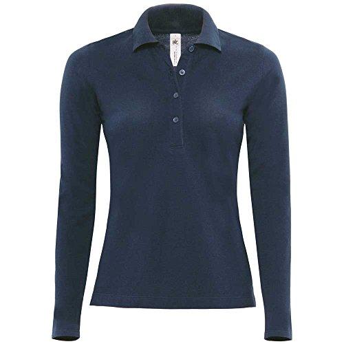 B&C Poloshirt, Langarm, für Damen, Safran M Blau - Königsblau