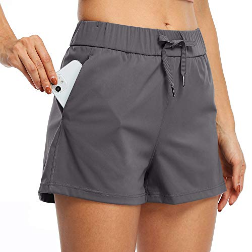 Willit Women's Yoga Lounge Shorts Hiking Active Running Workout Shorts Comfy Travel Casual Shorts with Pockets 2.5' Deep Gray S