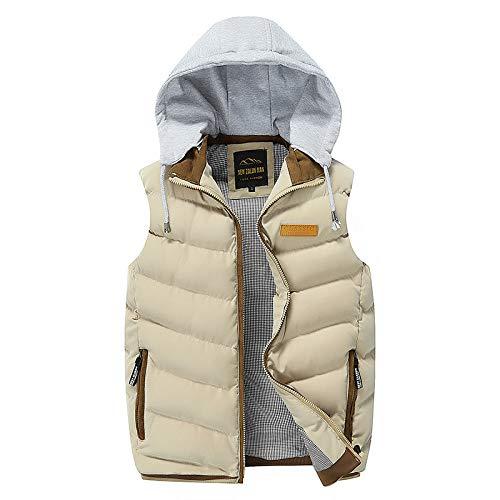 BAONUANY Gilet Mens,Khaki Grijs Winter Vest Hooded Mannen Mouwloze Jassen Down Vest Casual Waistcoat Streetwear Top Mannen Overcoat Hoed Afneembaar Vest