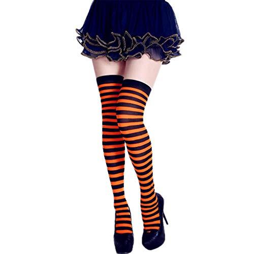 Dabixx Mujer Calcetines de Rayas largas Contraste Color Muslo Medias Altas Cosplay Halloween Naranja Negro