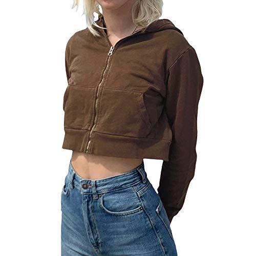 Damen Hoodies Oversized Vintage Pullover Zip Up Sweatshirt Y2K E-Girl 90er Jahre Jacken Baggy Langarm Cropped Mantel Gr. S, braun