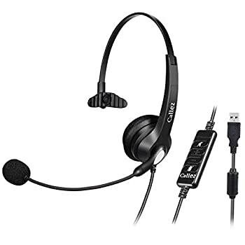 USB Headset with Microphone Noise Cancelling & Audio Controls Wideband Computer Headphones for Business UC Skype Lync Softphone Call Center Office Clearer Voice Super Light Ultra Comfort