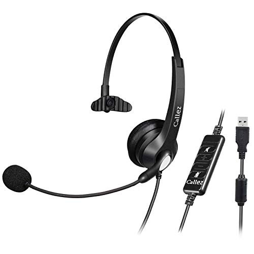 USB Headset with Microphone Noise Cancelling & Audio Controls, Wideband PC Headphone for Business UC Skype Lync Softphone Call Center Office Computer, Clearer Voice, Super Light, Ultra Comfort