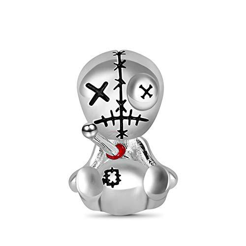 GNOCE Voodoo Dolls Charm Bead in Argento Sterling 925 Adatto Per Bracciali Stile Europeo Collane Gioielli di Moda Per Donna Uomo Bambini