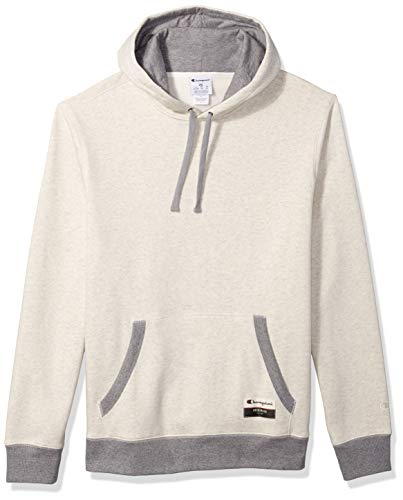 Champion Men's Authentic Original Sueded Fleece Pullover Hoodie, Oatmeal Heather/Oxford Heather, Large