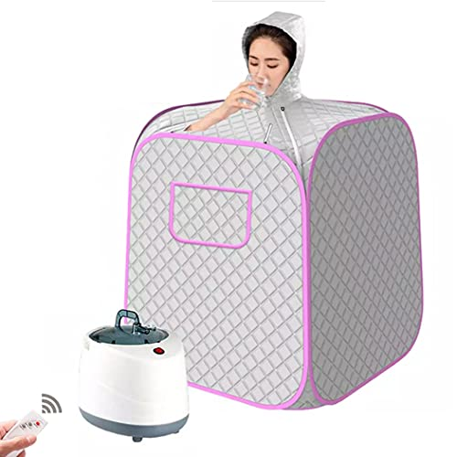 JIANFCR Portable Steam Sauna Spa, Personal Therapeutic Sauna for Weight Loss Detox Relaxation Slimming, One Person Sauna with Remote Control, 9 Temperature Levels,Silver