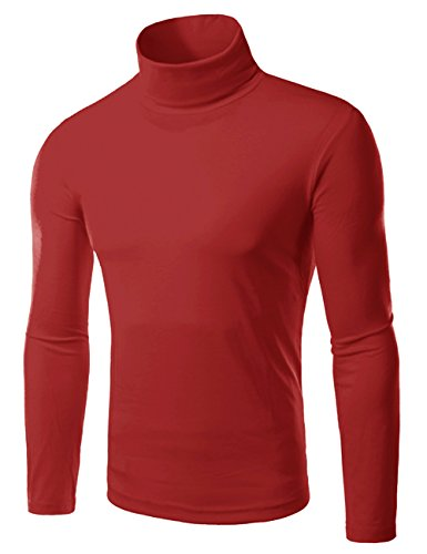 EMMA Camiseta Térmica Cuello Alto de los Hombres Manga Larga T-shirt Pulóver de Invierno Liso Delgado