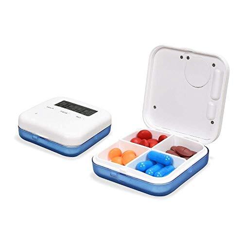 ASEOK Alarma digital Caja de pastillas Recordatorio de tiempo Fácil impermeable portátil con 4 compartimentos 5 Alarmas Pantalla de tiempo Cuenta atrás para actividades al aire libre, viajes