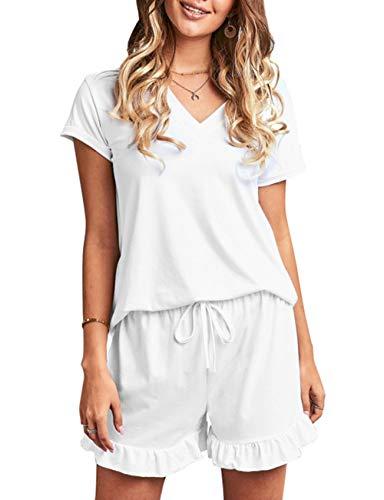 MuCoo Conjunto de pijama de manga corta para mujer, ropa de dormir con botones