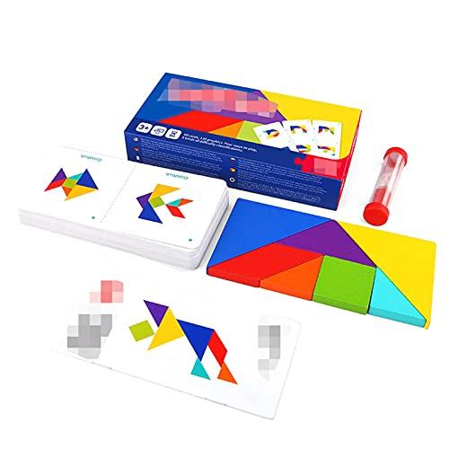 LACALA Tangram Intelligenz Hölzerner Puzzle, Early Education Puzzle Englische Puzzle-Karten, Spielwaren Kinder Jungen und Mädchen Geschenke