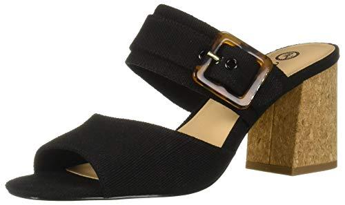 Bella Vita Women's Tory II Dress Sandal Shoe, Black Linen, 8 2W US