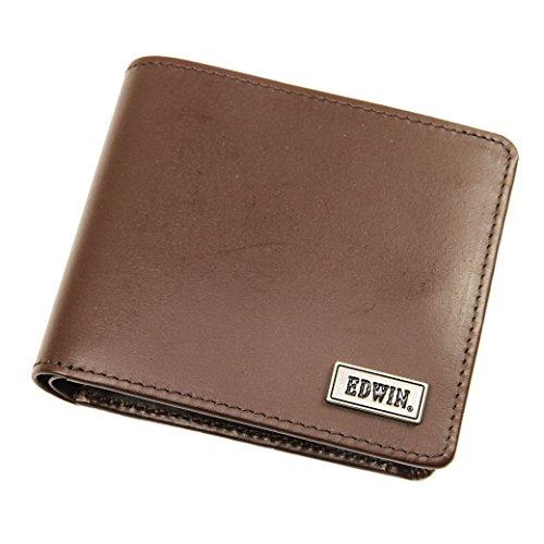 メンズ 二つ折り財布 EDWIN(エドウィン) ボンデッドレザー 本革 No.0510444 チョコ(Choco)