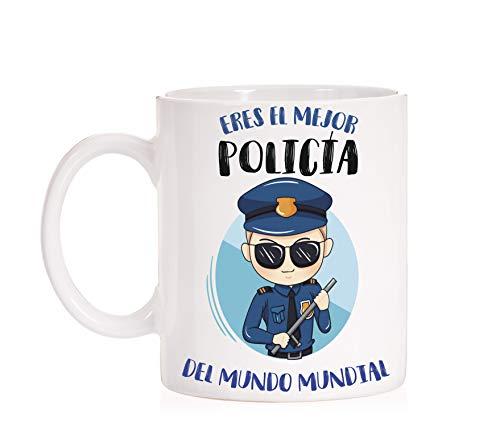 FUNNY CUP Taza Al Mejor Policia del Mundo Mundial. Taza Divertida de Regalo (Policia (Hombre))