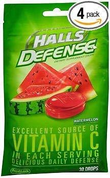 Halls Defense Vitamina C gotas sandía – 30 ct, paquete de 4