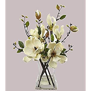 Magnolia faux floral Arrangement w/glass Vase beautiful artificial flowers new