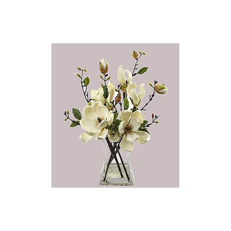 silk flower arrangements magnolia faux floral arrangement w/glass vase beautiful artificial flowers new