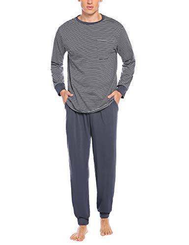 Sykooria Ropa de Dormir de algodón para Hombre Conjuntos de Pijama Manga Larga de Invierno 2 Piezas...