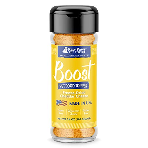 Raw Paws Boost Flavor & Nutrition Pet Food Topper, Freeze Dried Cheese, 3.6-oz - Made in USA - Dog Food Enhancer & Cat Food Sprinkles - Grain-Free Dog Cheese Powder - Pet Food Mixer Cheese for Dogs