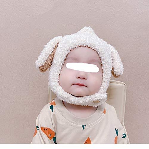 ZYSWP MZWJTZKD Sombrero de bebé otoño e Invierno Lindo Sombrero de Lana de los niños Viejos para los niños Protección de la Oreja Caliente y el Sombrero de Peluche a Prueba de Viento (Color : White)