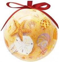 Shellscape Beach Scene Designed Hanging Ball Ornament - Christmas Ornament - Tropical Beach Nautical Decor by Cape Shore
